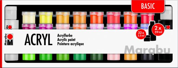 Akrylové barvy Marabu Basic 34ks