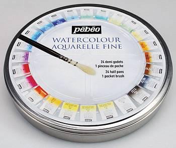 Akvarelové barvy Pébéo 24ks