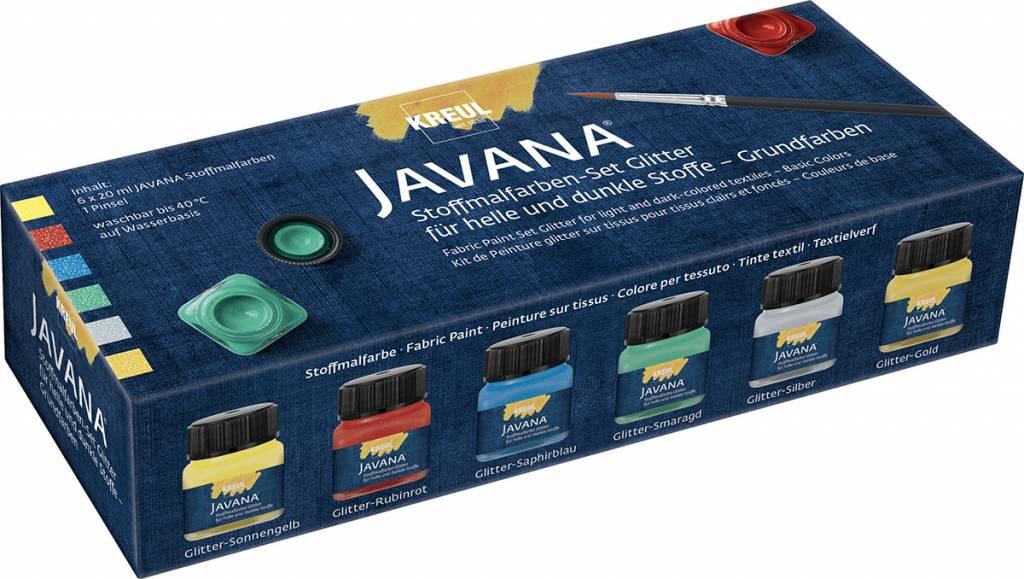 Sada barev na textil Javana 6x20ml Glitter