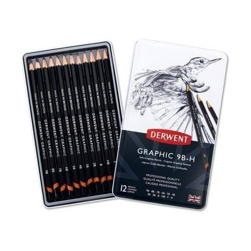 Grafitové tužky Derwent (9B - H) 12ks