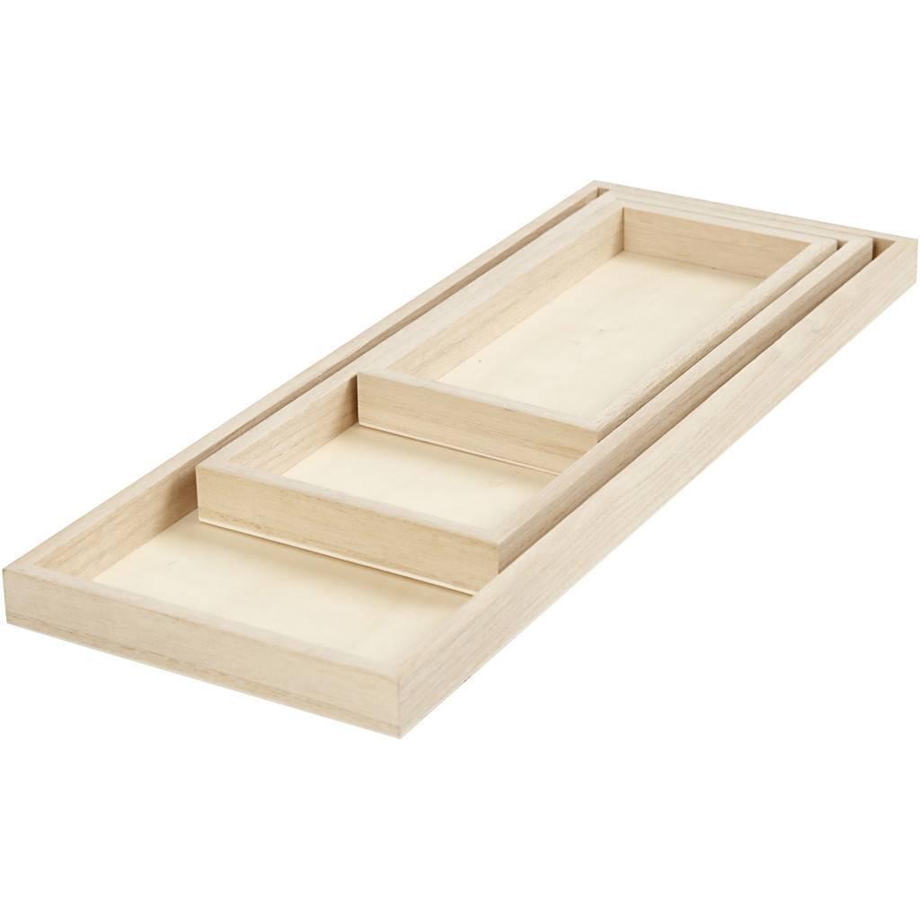 Dřevěný tácek obdélník 3ks