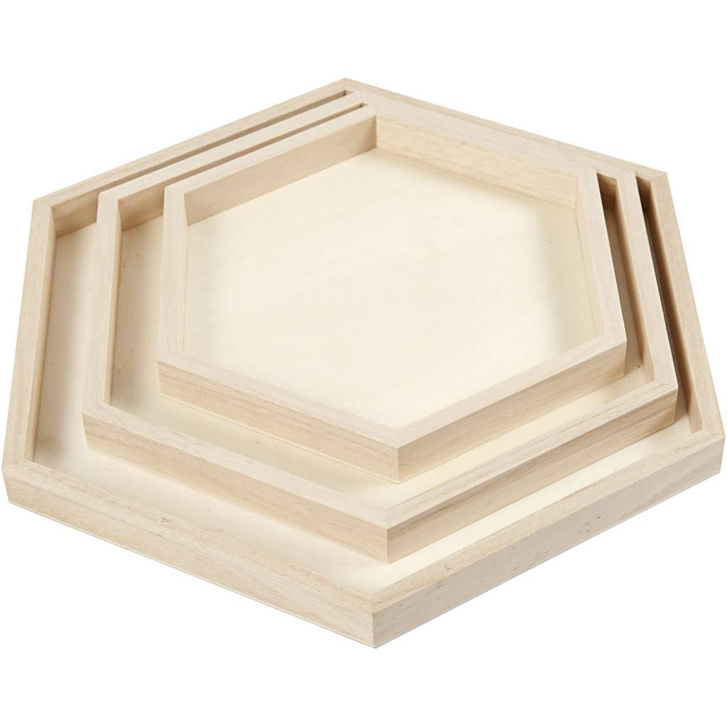 Dřevěný tácek šestihranný 3ks