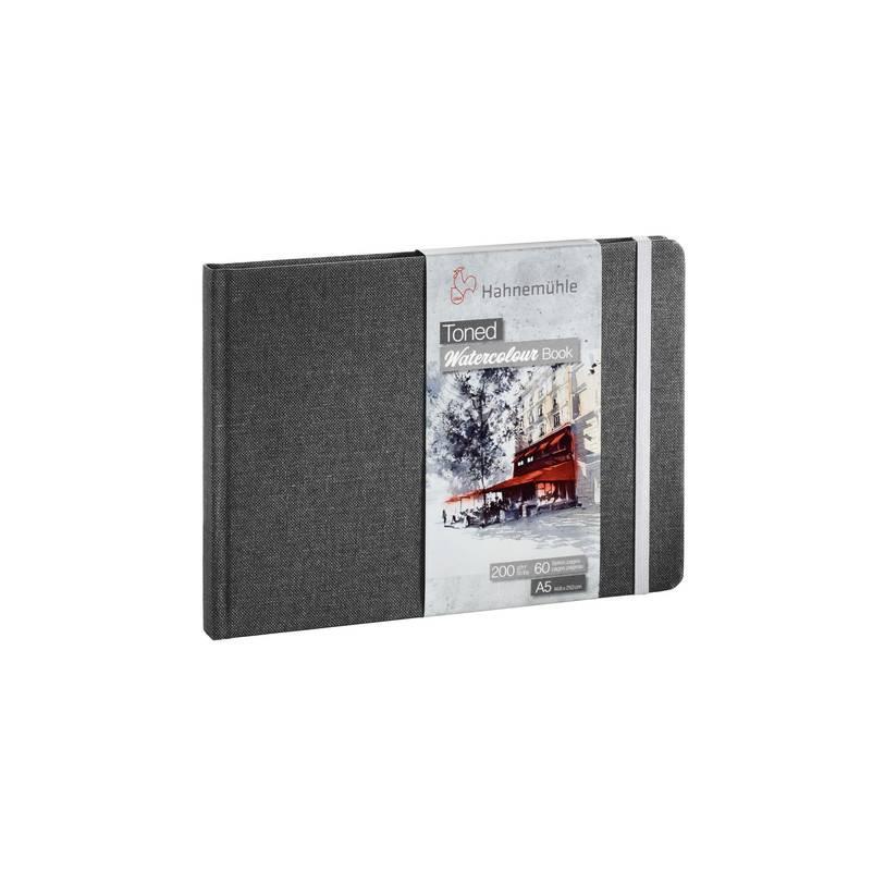 Toned Watercolour Book A5 na šířku - šedá