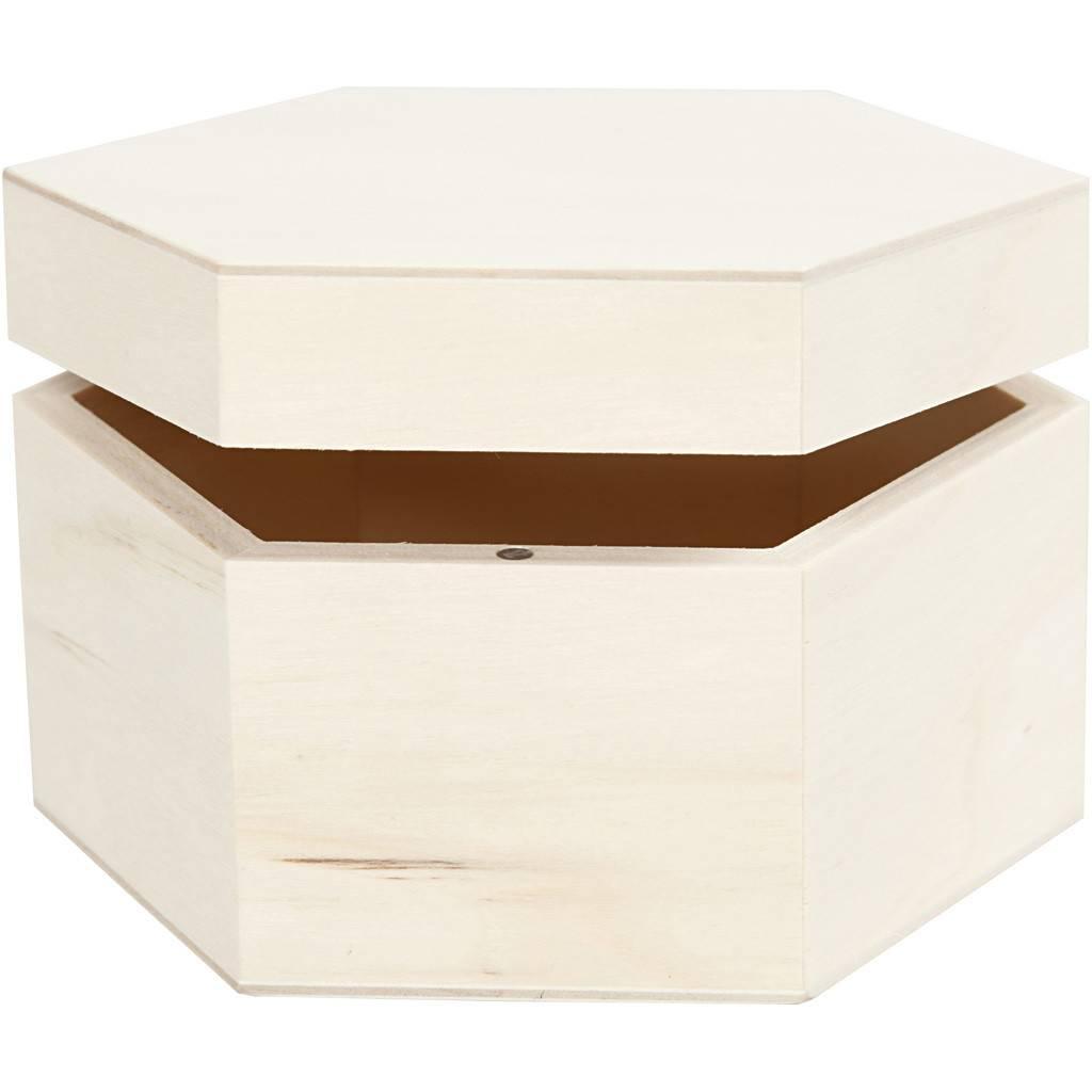 Dřevěná šestihranná krabička 12x7cm