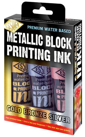 Sada metalických barev na linoryt 3x100ml